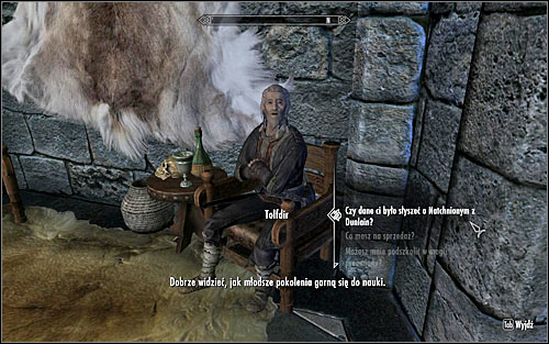 If you dont want to complicate things too much, you can return to Tolfdir (screen above), who will share his knowledge of the Augur of Dunlain without any problems - Good Intentions - College of Winterhold quests - The Elder Scrolls V: Skyrim Game Guide