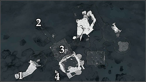 Symbols on the map: 1 - Starting point (College of Winterhold main square); 2 - Starting point (Hall of Countenance); 3 - Main room; 4 - Door leading to the Midden Dark. - Good Intentions - College of Winterhold quests - The Elder Scrolls V: Skyrim Game Guide