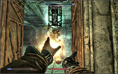 I'd recommend attacking the Centurion from the previous room (screen above), as he won't be able to fit through the door and get near you - Revealing the Unseen - p. 2 - College of Winterhold quests - The Elder Scrolls V: Skyrim - Game Guide and Walkthrough