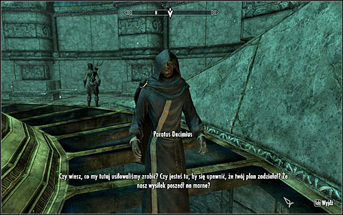 Go down and approach Paratus (screen above), who will be mad that he didn't get a satisfying result and will blame you for it, stating that the disturbance has its origin at the College - Revealing the Unseen - p. 3 - College of Winterhold quests - The Elder Scrolls V: Skyrim - Game Guide and Walkthrough