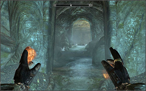 If you chose to go through the gate, you will need to jump down onto the lower level after reaching the new location - Staff of Magnus - p. 2 - College of Winterhold quests - The Elder Scrolls V: Skyrim Game Guide
