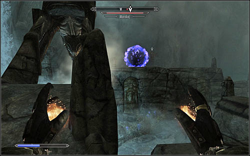 Morokei can also decide to call in an Atronach for help (screen above), making the battle more difficult - Staff of Magnus - p. 3 - College of Winterhold quests - The Elder Scrolls V: Skyrim Game Guide