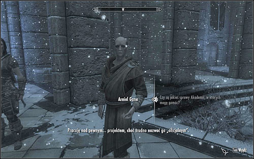 Find Arniel Gane, whos probably at the main square of the College of Winterhold - Arniels Endeavor - p. 1 - College of Winterhold quests - The Elder Scrolls V: Skyrim Game Guide