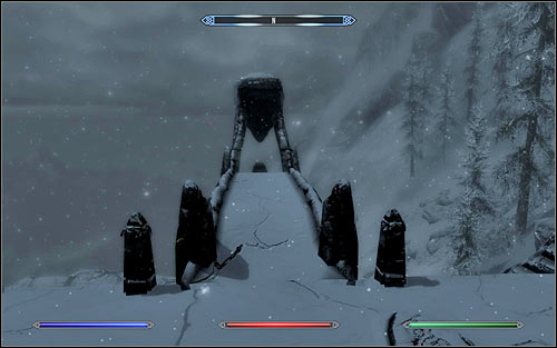 Be careful after reaching the destination, as there might be bandits around the pedestal - Destruction Ritual Spell - College of Winterhold quests - The Elder Scrolls V: Skyrim - Game Guide and Walkthrough