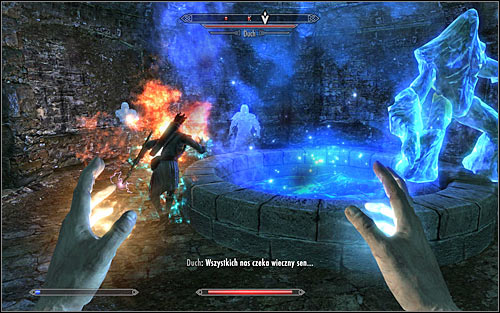 During this battle you will however be able to trick the Augur a bit, as he didnt forbid your party member from following you - Restoration Ritual Spell - College of Winterhold quests - The Elder Scrolls V: Skyrim Game Guide