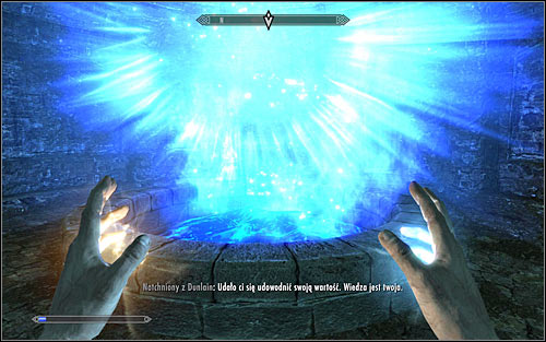 Regardless of whether you used your party members help or not, you will have to defend for less than a minute, until you get informed of passing the trial (screen above) - Restoration Ritual Spell - College of Winterhold quests - The Elder Scrolls V: Skyrim Game Guide