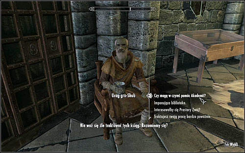 Find Urag gro-Shub, who should be at the College library, known as the Arcanaeum (accessible from the Hall of the Elements) - Miscellaneous: Valuable Book Fetching - College of Winterhold quests - The Elder Scrolls V: Skyrim Game Guide