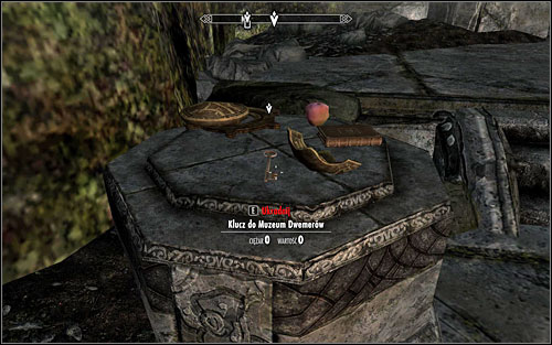 You can have three options: steal the key from Calcelmo (see Obtain the key to Calcelmos Museum), take it from his desk (screen above), picklock the door or complete the Miscellaneous: Kill Nimhe inside Nchuand-Zel - Hard Answers - Thieves Guild quests - The Elder Scrolls V: Skyrim Game Guide