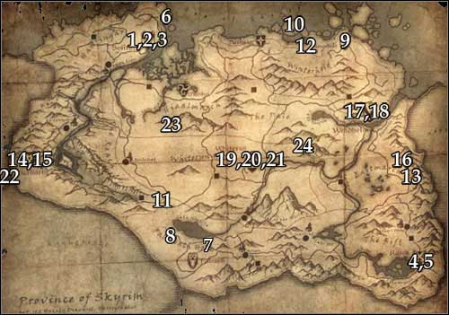 All gems have been marked on the map above - No Stone Unturned - Thieves Guild quests - The Elder Scrolls V: Skyrim Game Guide