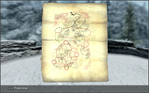 Head out of the fort, follow the path round the lake and go up the mountain - Treasure Maps (I) | Side quests - Side quests - The Elder Scrolls V: Skyrim Game Guide