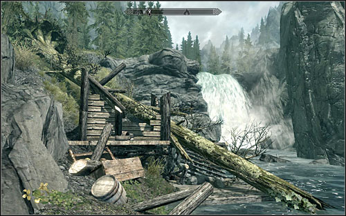 The map shows the Riften bridge and a waterfall, behind which the treasure should be - The Great Skyrim Treasure Hunt (VIII-X) - Side quests - The Elder Scrolls V: Skyrim - Game Guide and Walkthrough