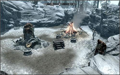 The Mammoth Tusk Powder can be found in the bowl in the middle of the camp, beside a large campfire - Repairing the Phial | Side quests - Side quests - The Elder Scrolls V: Skyrim Game Guide