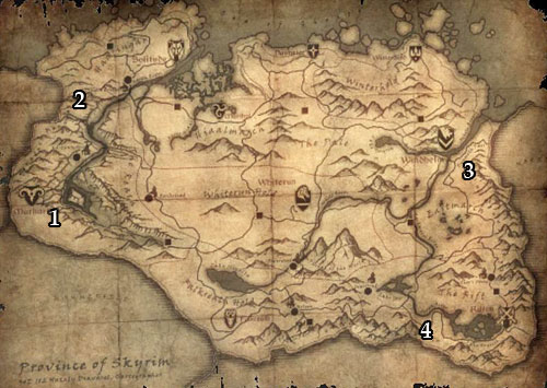 Markings on the map: 1 - Dushnikh Yal; 2 - Mor Khazgul; 3 - Narzulbur; 4 - Largashbur. - The Forgemasters Fingers | Side quests - Side quests - The Elder Scrolls V: Skyrim Game Guide