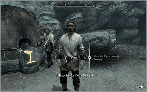After reaching Karthwasten, find Enmon who during the day should be working by the entrance to the Fenns Gulch Mine (screen above) - The Heart of Dibella | Side quests - Side quests - The Elder Scrolls V: Skyrim Game Guide