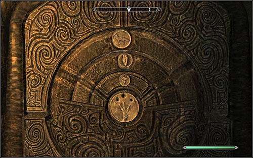 Soon enough you should reach a locker door, where you will need to solve a puzzle resembling those which you have probably come across many times before - Siege on the Dragon Cult | Side quests - Side quests - The Elder Scrolls V: Skyrim Game Guide