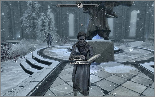 You should find Mirabelle Ervine on the main square of College of Winterhold (screen above) - First Lessons | Side quests - Side quests - The Elder Scrolls V: Skyrim Game Guide