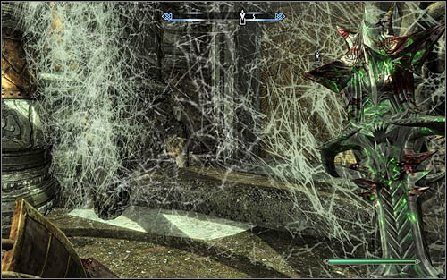 Stay where you found Alethius and use any weapon or spells to cut through the spider-webs (screen above) - The Lost Expedition | Side quests - Side quests - The Elder Scrolls V: Skyrim Game Guide