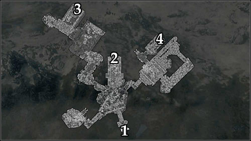 Markings on the map: 1 - Starting point (tomb entrance); 2 - Quest activation and passage to the Elders Cairn; 3 - Ceremonial axe; 4 - Ceremonial sword. - Silenced Tongues | Side quests - Side quests - The Elder Scrolls V: Skyrim Game Guide