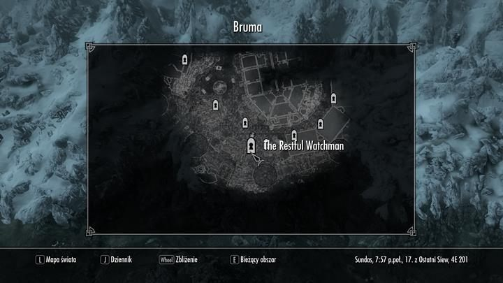 After speaking with captain in Castle Bruma Great Hall you must head to The Restful Watchman tavern and speak with Bentior, the innkeeper - Absent Antiquity | Quests in the game - Quests in the game - The Elder Scrolls V: Skyrim Game Guide