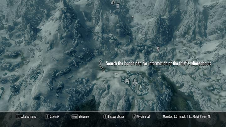 A new location will appear on your map - Bandits Den - Absent Antiquity | Quests in the game - Quests in the game - The Elder Scrolls V: Skyrim Game Guide