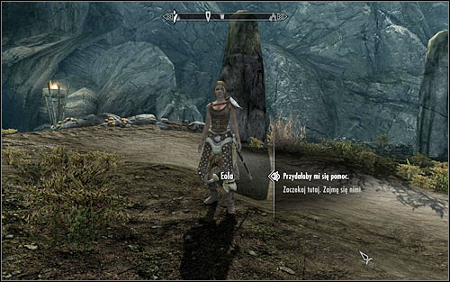 After getting to the cave, you should note Eola standing before it - The Taste of Death - p. 1 - Daedric quests - The Elder Scrolls V: Skyrim Game Guide