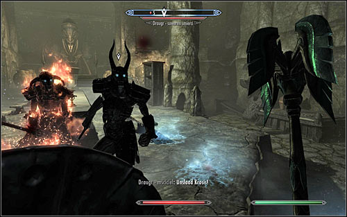 Try to stay away from the southern part of the room for as long as possible, as only then will the Draugr Death Overlord - the main boss of this location - stand from his throne and join the fight (screen above) - The Taste of Death - p. 2 - Daedric quests - The Elder Scrolls V: Skyrim Game Guide