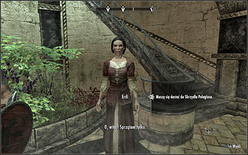 Erdi (screen above) wont be at first too eager to give you the Pelagius Wing Key, though she should change her mind if you tell her that Falk has sent you to check the area - The Mind of Madness - p. 1 - Daedric quests - The Elder Scrolls V: Skyrim Game Guide