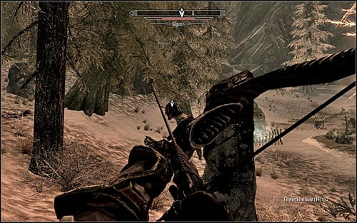 If you prefer ranged attacks, during the fight with the Giant you should use the nearby trees and other big objects to your advantage, hoping that the creature will be blocked by them - The Cursed Tribe - p. 2 - Daedric quests - The Elder Scrolls V: Skyrim Game Guide