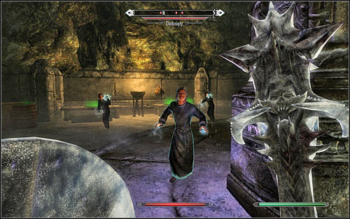 If you want to explore the area thoroughly, you might backtrack a bit and use the north-east ramp leading onto the upper level - The Only Cure - p. 3 - Daedric quests - The Elder Scrolls V: Skyrim Game Guide