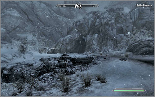 Eventually you should reach a mountain path leading west - A Daedras Best Friend - p. 1 - Daedric quests - The Elder Scrolls V: Skyrim Game Guide