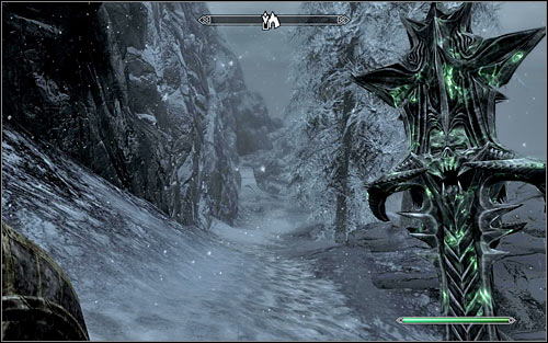 You have to approach the destination from the south-east, using the hardened path - A Daedras Best Friend - p. 2 - Daedric quests - The Elder Scrolls V: Skyrim Game Guide