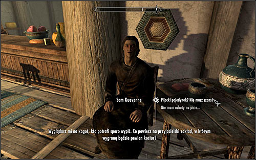 After finding Sam, speak to him to unlock Miscellaneous: Participate in a drinking contest with Sam Guevenne - A Night to Remember - p. 1 - Daedric quests - The Elder Scrolls V: Skyrim Game Guide