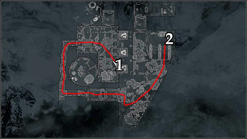 Markings on the map: Red line - suggested route; 1 - starting point; 2 - Portal (destination point). - A Night to Remember - p. 2 - Daedric quests - The Elder Scrolls V: Skyrim Game Guide