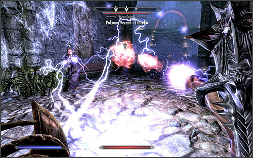 Before the fight begins, you should increase your resistance to lightning, as Veren and Thorek will mainly use those types of spells (screen above) - Waking Nightmare - p. 2 - Daedric quests - The Elder Scrolls V: Skyrim Game Guide