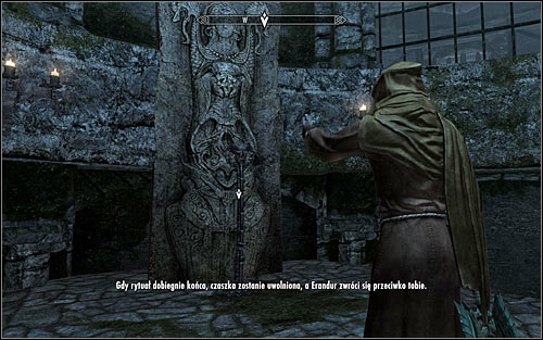 After the battle, speak to Erandur who will move to the ritual of removing the magical barrier surrounding the Skull of Corruption - Waking Nightmare - p. 2 - Daedric quests - The Elder Scrolls V: Skyrim Game Guide