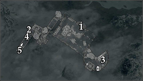 Markings on the map: 1 - Main entrance; 2 - Suggested side entrance; 3 - Ghunzuls whereabouts; 4 - Cage with the button; 5 - Passage to the vaults. - Pieces of the Past - p. 1 - Daedric quests - The Elder Scrolls V: Skyrim Game Guide