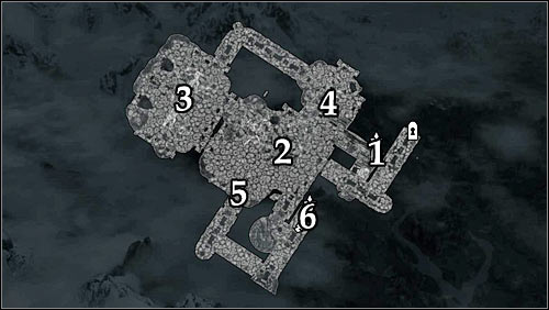 Markings on the map: 1 - Starting point; 2 - Stairs; 3 - Dining room; 4 - Lever; 5 - Passage unblocked by pulling the lever; 6 - Door leading onto the roof of the Dead Crone. - Pieces of the Past - p. 2 - Daedric quests - The Elder Scrolls V: Skyrim Game Guide