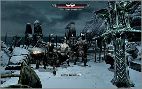 Note that the Boethiah Cultists have started attacking themselves (screen above) and in the beginning phase of the battle it would be best to leave them alone - Boethiah's Calling - p. 1 - Daedric quests - The Elder Scrolls V: Skyrim - Game Guide and Walkthrough