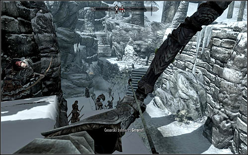 If your character prefers ranged combat, dont use the stairs at all and eliminate enemy soldiers from a safe distance instead (the above screen) - The Jagged Crown - p.1 | Imperial Legion Quests - Imperial Legion Quests - The Elder Scrolls V: Skyrim Game Guide