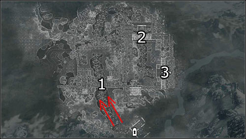 Labels on the map: Red arrows - direction of the enemy attack; 1 - the barricade, 2 - the drawbridge; 3 - Whiterun entrance - Battle for Whiterun | Imperial Legion Quests - Imperial Legion Quests - The Elder Scrolls V: Skyrim Game Guide