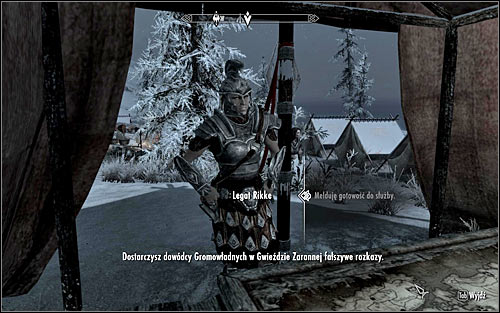 Enter the camp and look for Legate Rikke, because shes the one you have to ask for orders (the above screen) - Reunification of Skyrim - p.1 | Imperial Legion Quests - Imperial Legion Quests - The Elder Scrolls V: Skyrim Game Guide