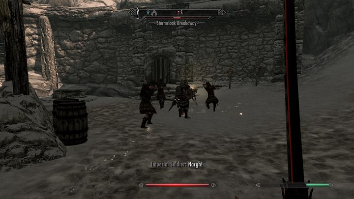 A fight between Imperials and Stormcloacks breaks out in the fort. - A Stormcloack in Chains | Quests in the game - Quests in the game - The Elder Scrolls V: Skyrim Game Guide