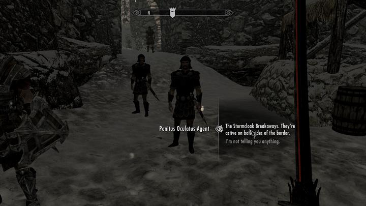 You can give the information to the agents or start fighting with them. - A Stormcloack in Chains | Quests in the game - Quests in the game - The Elder Scrolls V: Skyrim Game Guide