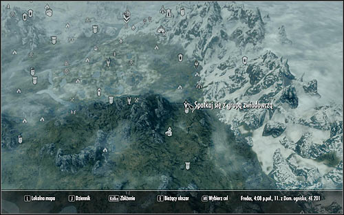 When you open the world map, you should notice that the scouting party is on the road to Windhelm (the above screen), specifically in the area of Shors Stone - Compelling Tribute | Imperial Legion Quests - Imperial Legion Quests - The Elder Scrolls V: Skyrim Game Guide