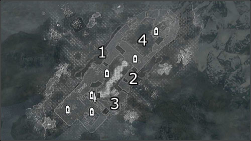 Labels on the map: 1 - northwest main entrance; 2 - southeast main entrance; 3 - small entrance (collapsed wall fragment); 4 - upper courtyard occupied mostly by archers - The Battle for Fort Greenwall | Imperial Legion Quests - Imperial Legion Quests - The Elder Scrolls V: Skyrim Game Guide