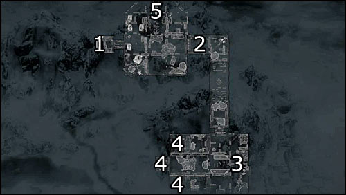 Labels on the map: 1 - secret prison entrance; 2 - corridor leading to cells; 3 - probable whereabouts of a guard with the cell key; 4 - cells with the imprisoned Legionnaires; 5 - route to the main courtyard - Rescue from Fort Kastav | Imperial Legion Quests - Imperial Legion Quests - The Elder Scrolls V: Skyrim Game Guide