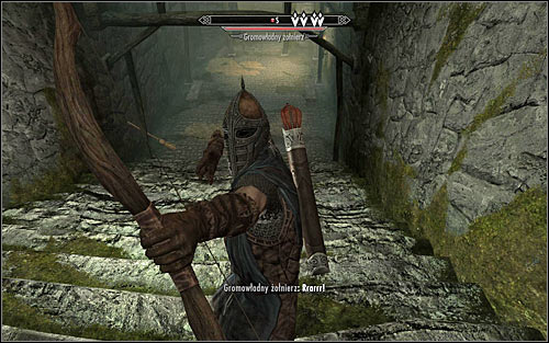 After a while turn south and prepare to take out the first guard, who should be patrolling the area of the stairs (the above screen) - Rescue from Fort Kastav | Imperial Legion Quests - Imperial Legion Quests - The Elder Scrolls V: Skyrim Game Guide
