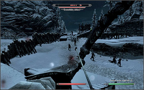 If your character prefers ranged combat, I suggest getting to the left wall as soon as you leave the prison, and taking a good observation spot from which to eliminate the Stormcloak soldiers (the above screen) - Rescue from Fort Kastav | Imperial Legion Quests - Imperial Legion Quests - The Elder Scrolls V: Skyrim Game Guide