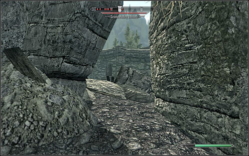 A much safer way into the fort is to go from the north to find a hole in the east part of the wall (the above screen) - The Battle for Fort Amol | Imperial Legion Quests - Imperial Legion Quests - The Elder Scrolls V: Skyrim Game Guide