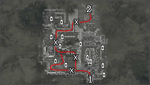 Labels on the map: red lines - free routes; 1 - starting point, 2 - entrance to the Palace of the Kings; X - barricades you can break through - Battle for Windhelm | Imperial Legion Quests - Imperial Legion Quests - The Elder Scrolls V: Skyrim Game Guide
